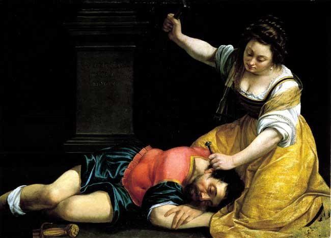 시스라와 야엘 - 아르테미지아 젠틸레스키  1620년경. 부다페스트 미술관.  야엘은 구약성경에 나오는 아름다운 여인입니다. 그녀는 민족을 탄압하는 적, 야엘을 맞아서 그가 곯아떨어지자 말뚝과 망치를 가지고 그의 관자놀이에 박습니다. 적에 맞서는 방법이 조금 섬뜩하지만 유디트와 같이 용감한 야엘을 영웅으로 말하기에 부족함이 없는 듯 합니다.