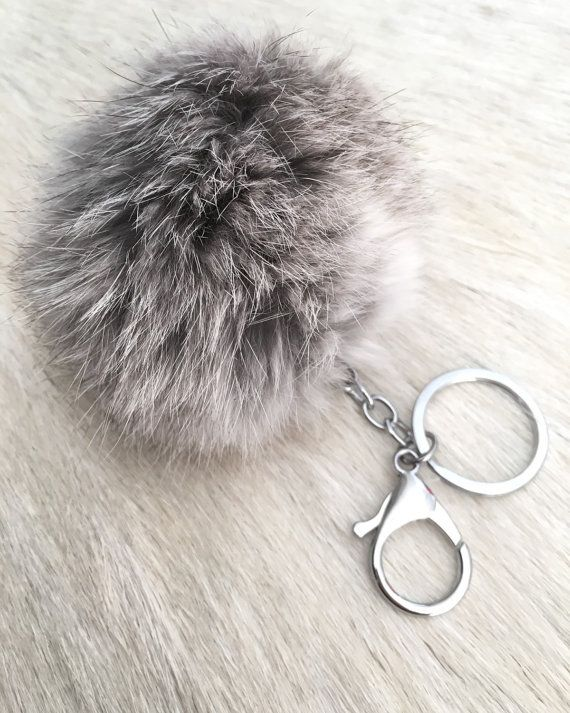 Real rabbit fur ball key chain by SopisaJewelry on Etsy