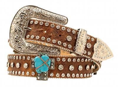 Nocona Western Womens Belt Leather Crystals Cross Distressed Brown