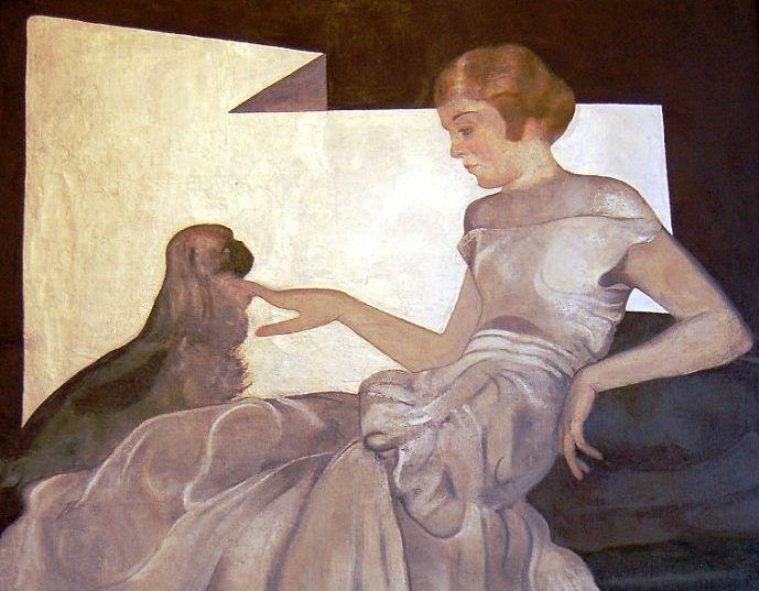 Jan Rudnicki. Portret kobiety w białej sukni (po 1920):