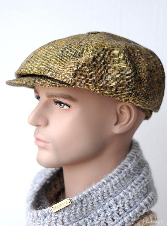 fb73013acb5 Yellow newsboy cap Mens newsboy cap Linen cap Womens newsboy hat Baker boy hat  Women newsie hat Summ