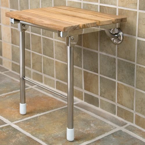 Natural Teak Wood Folding Shower Seat with Legs | eBay