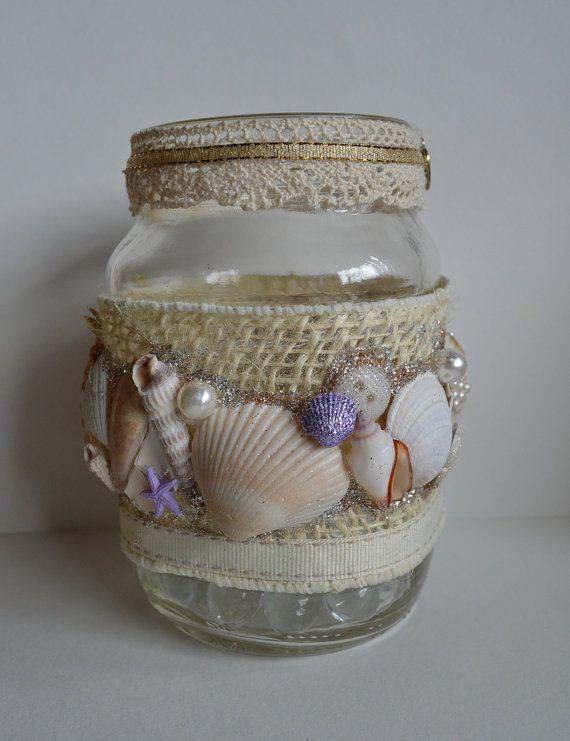Seashell Mason Jar home decor destination wedding by RSolomons, $12.00