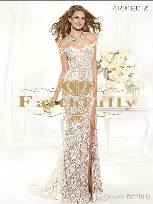 Fashion Black And Nude Off Shoulder Lace Formal Evening Gowns High Slit Sheer Backless Party Pageant Dresses Ruched 2014 Tarik Ediz 92388 Long Formal Gowns Long Gowns Online From Faithfully, $112.08| Dhgate.Com