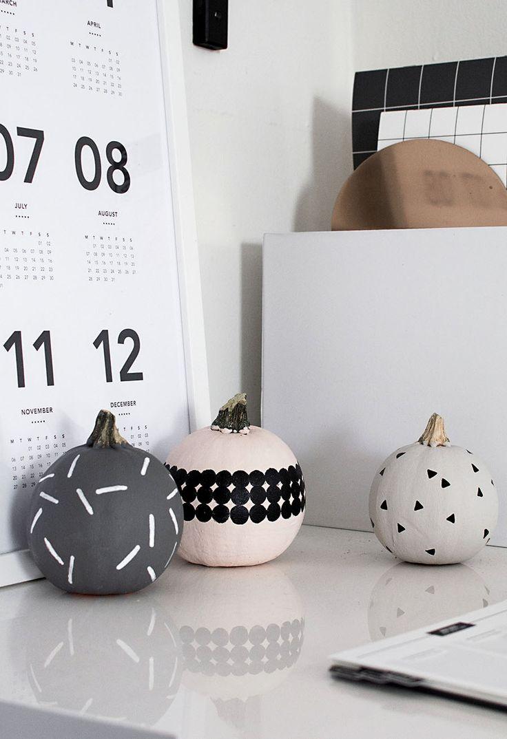 No carve modern patterned pumpkin decorating | homeyohmy
