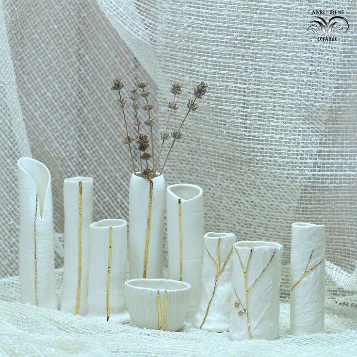 65 отметок «Нравится», 5 комментариев — Delicate porcelain flowers (@anri.irene_porcelain.art) в Instagram: «Hand built vases. White porcelain, gold.  #porcelain #porcelaine #porcelaindesign #porcelainvase…»