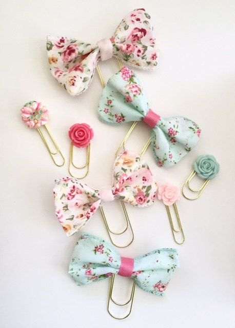 Aqua Vintage Floral Ribbon Bow Paperclip Plannerclip by kandcoxoxo