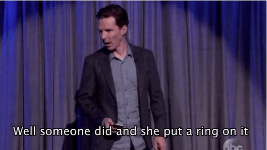 """Staring directly at the camera, he said: """"Well someone did, and she put a ring on it,"""" before flashing his wedding ring as if he were giving the finger. 