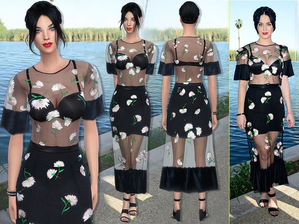 Katy Perry dress by sims2fanbg at TSR via Sims 4 Updates