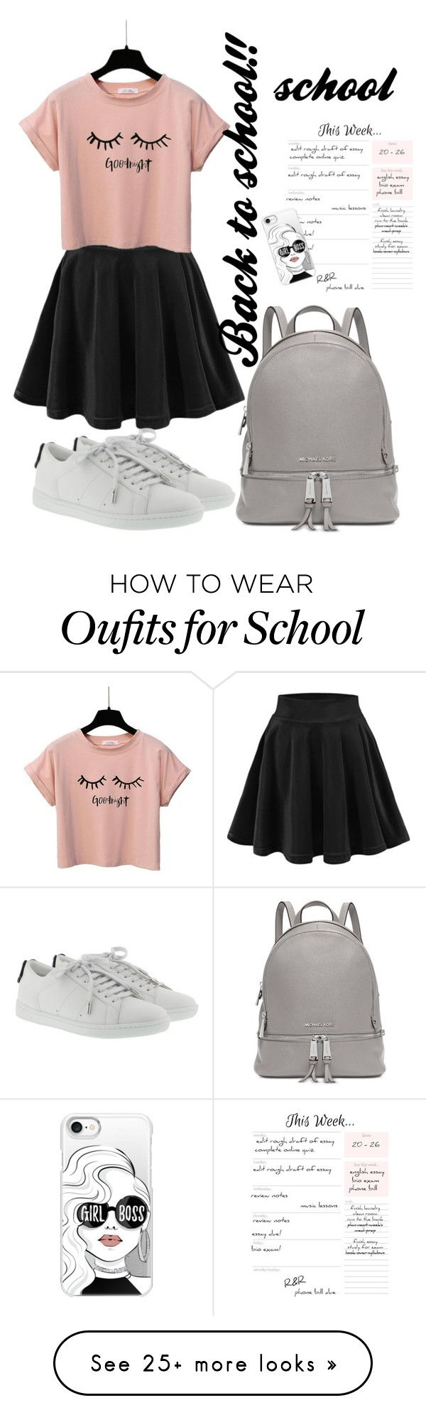 """""""School is coming!!"""" by helloyou123 on Polyvore featuring Yves Saint Laurent, Michael Kors and Casetify"""