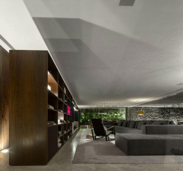 Wohnzimmer einrichten grau Teppich Ecksofa Design Ideen