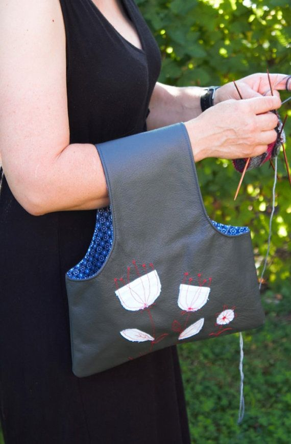 Knitting project bag project bag knitting wristlet by Kaepseles