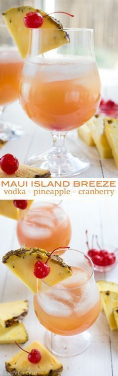 This Maui Island Breeze Cocktail recipe is the perfect blend of vodka, pineapple, and cranberry. It's also perfect as a party punch! #cocktailrecipes