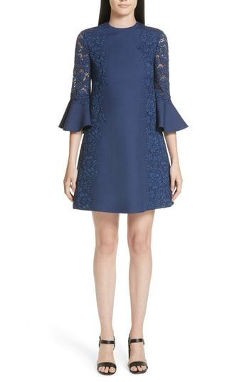 c58fe3dd4bc8 Chic Valentino Lace Crepe Couture Bell Sleeve Dress womens dresses.   3980   perfecttopbuy from top store
