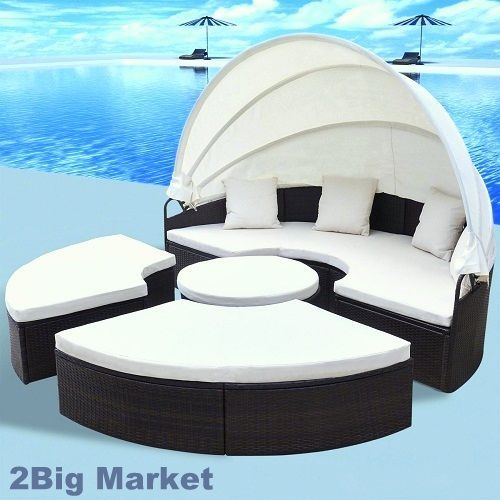 "Outdoor Rattan Sofa Sun Bed Set Retractable Canopy Patio Brown Daybed 91"" Round #vidaXL"