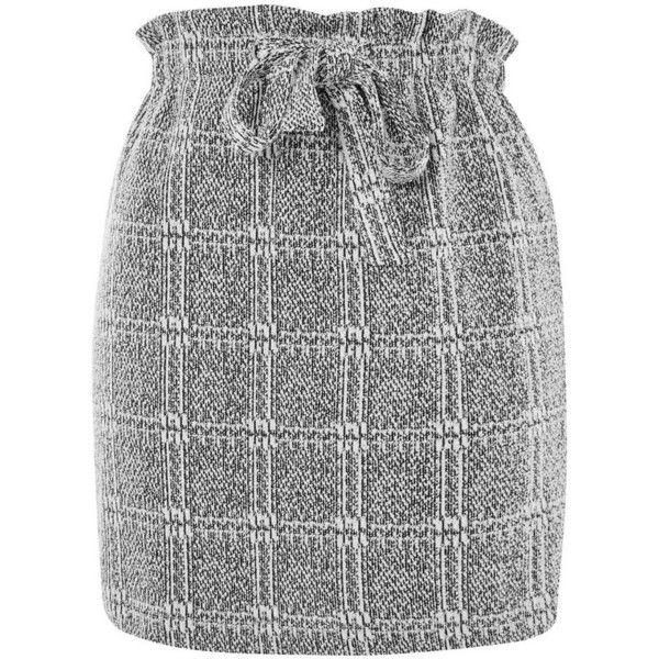 Women's Topshop Paperbag Waist Checkered Skirt (130 PEN) ❤ liked on Polyvore featuring skirts, frill skirt, paperbag skirts, checkered skirt, topshop skirts and frilled skirt