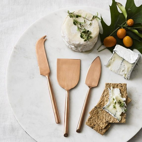 copper cheese knives. set of 3. williams-sonoma. $39.95.
