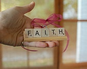 Handmade Christmas Ornament with Scrabble Tiles