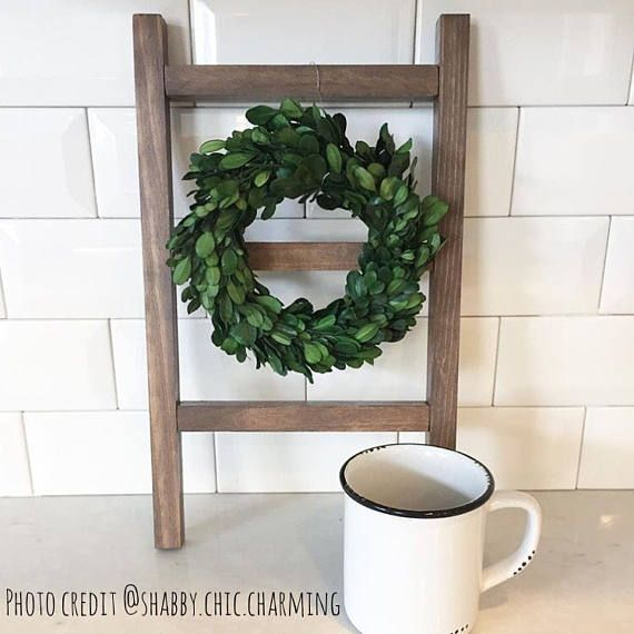 Down Dixie Road Etsy Shop - Mini Display Ladder - Tea Towel Ladder - Farmhouse - Hand Towel Holder - Farmhouse Kitchen - Decorative Ladder - Mini Wreath Display - Gallery Wall Repurposed Ladder - Coffee Bar Decor - Drink Station - Bridal Shower - Baby Shower - Wedding Gift