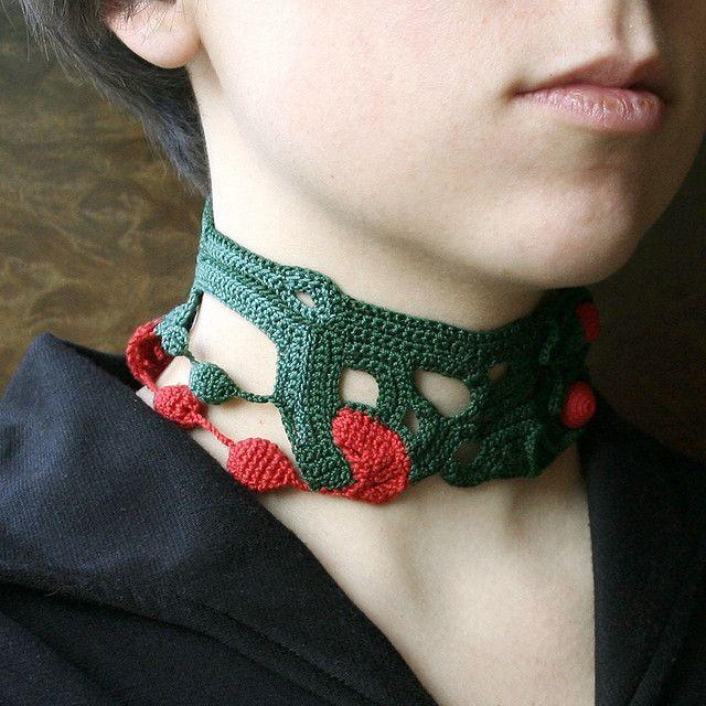Green and red crochet choker