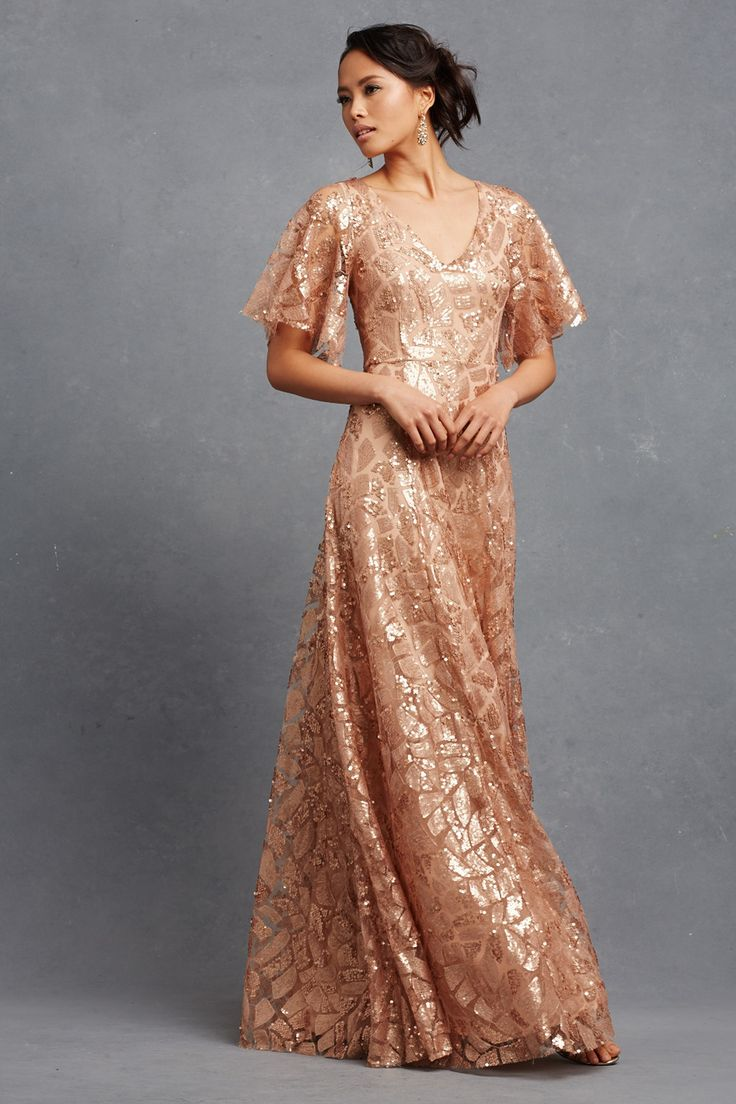 Best 25 bronze dress ideas on pinterest bronze wedding gown an elegant sheer sleeve paired with paillette embellished beading create a striking gown with soft romantic bridesmaid dresseswedding bridesmaidsbronze ombrellifo Gallery