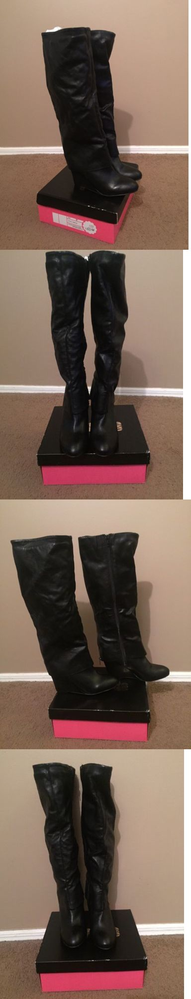 Women Boots: Brand New Womens Ladies Winter Boots Wedge Knee High Upper Leather Black Sz 7-8 -> BUY IT NOW ONLY: $74.99 on eBay!