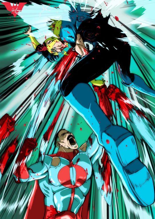 Omni-Man vs. Invincible (by me!) : Invincible Story Characters, Comic Book Characters, Comic Character, Comic Books Art, Character Ideas, Superhero Stories, Best Superhero, Invincible Comic, Download Comics