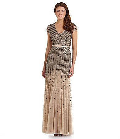 Adrianna Papell Woman CapSleeve Beaded Gown #Dillards