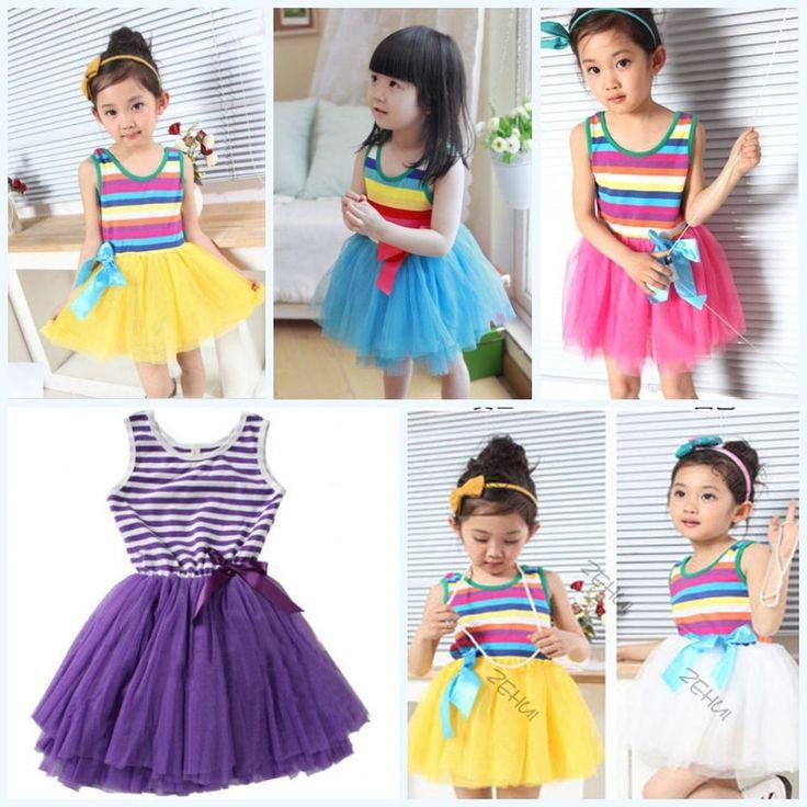Kids Baby Girls Toddler Sundress Sleeveless Skirt Bow Stripe Tutu Puffy Dress #unbrand
