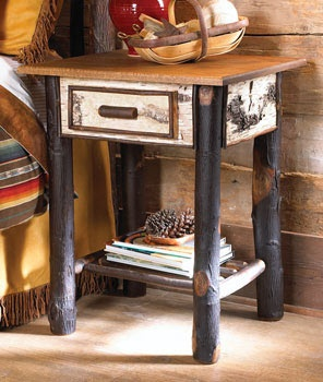Image detail for -home rustic lodge furniture birch nightstand back next