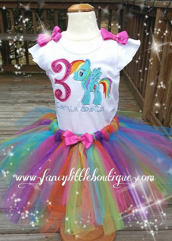 My littler pony Rainbow dash birthday tutu by Fancylittleboutique, $55.00