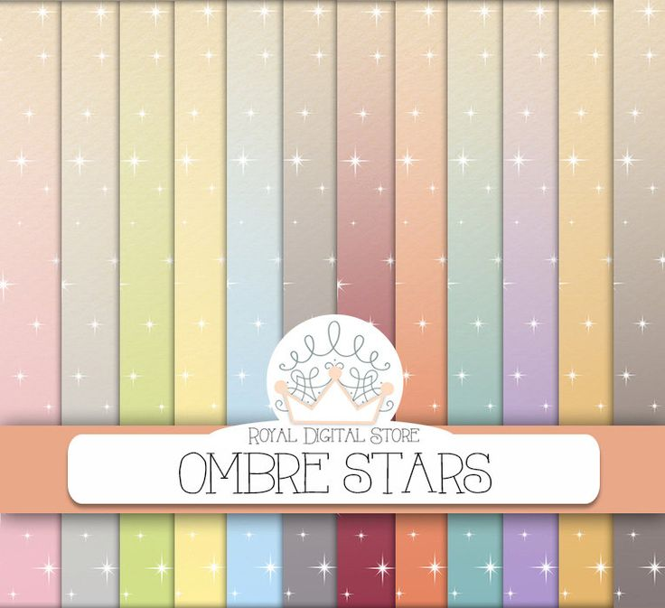 """Ombre digital paper: """"OMBRE STARS"""" with ombre stars background, dip dye pastel watercolor for invitations, cards, scrapbooking #watercolor #planner #colorful"""