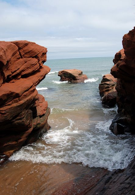 Sandstone Cliffs by kimberley blue, via Flickr | Îles-de-la-Madeleine, Québec, Canada