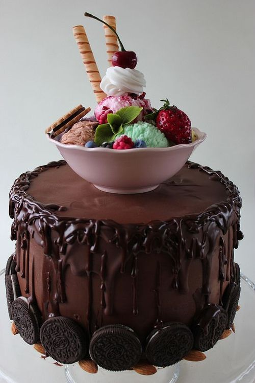 More Chocolate Please! Chocolate Cake with Oreo Cookies and Ice Cream on Top
