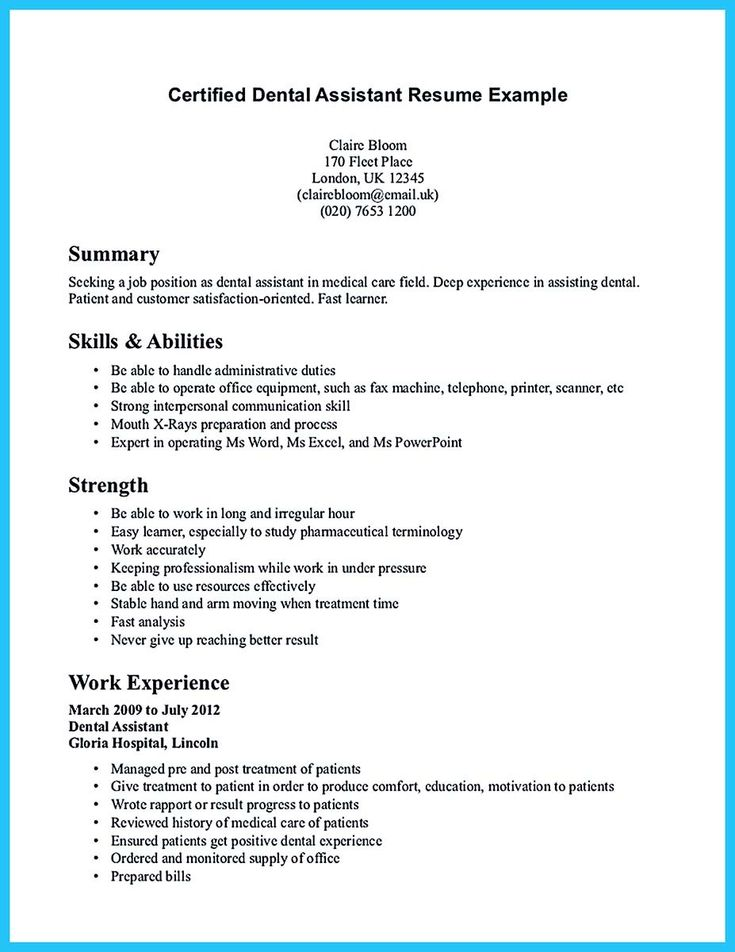 64 best Resume images on Pinterest Sample resume, Cover letter - certified dental assistant resume
