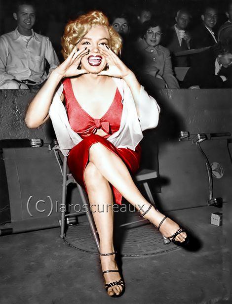 Marilyn Monroe Attending a nighttime baseball game at GilmoreStadium LosAngeles Aug 21, 1952