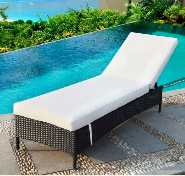 Pool Chaise Lounge Chair | Rustic Wicker Outdoor Patio Furniture
