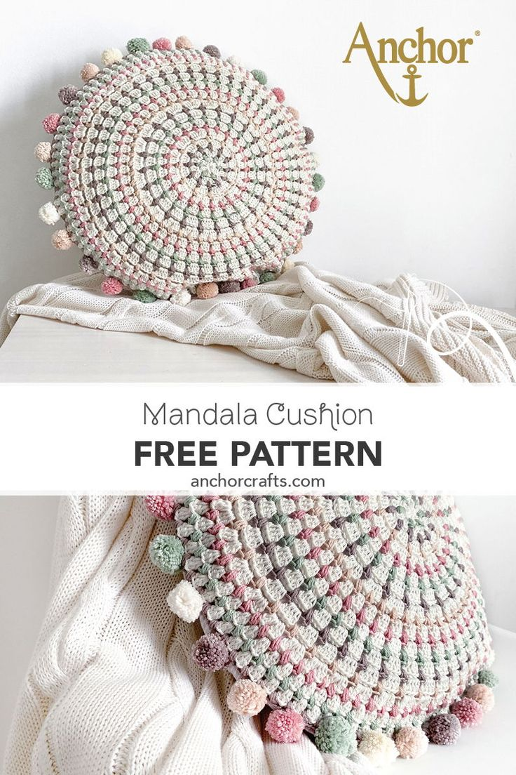 Make a simple crochet mandala pillow with our free crochet pattern. #anchorcrafts #anchorthreads #anchorcreativa #anchorcrochet #crochet #mandalacushion #crochetmandalacushion #roundcrochetcushion #crochetpillow #diycrochetcushion