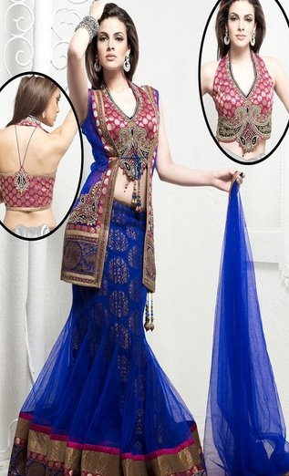 Blue and Pink Lengha
