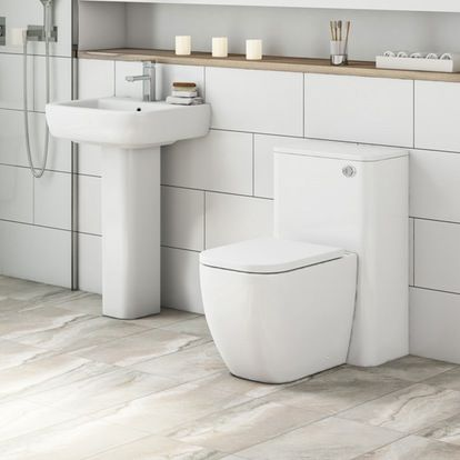 Mode Positano back to wall toilet and full pedestal basin suite | VictoriaPlum.com