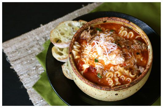 Lasagna soup -- made with mozzarella instead of ricotta, and add spinach next time.