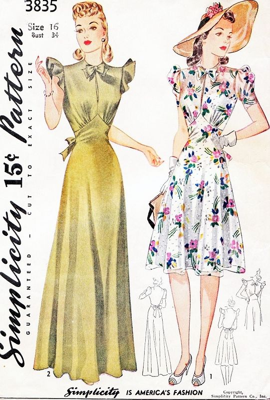 1940s WW II BEAUTIFUL Evening or Daytime Dress Pattern SIMPLICITY 3835 Figure Flattering Designs Bust 34 Vintage Forties Sewing Pattern