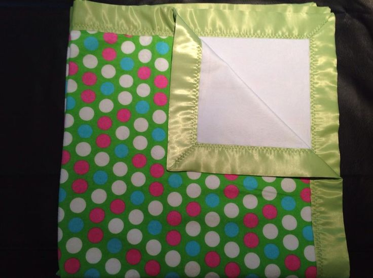 green, blue, pink and white polka dots with white chenille and green trim. 36x36""