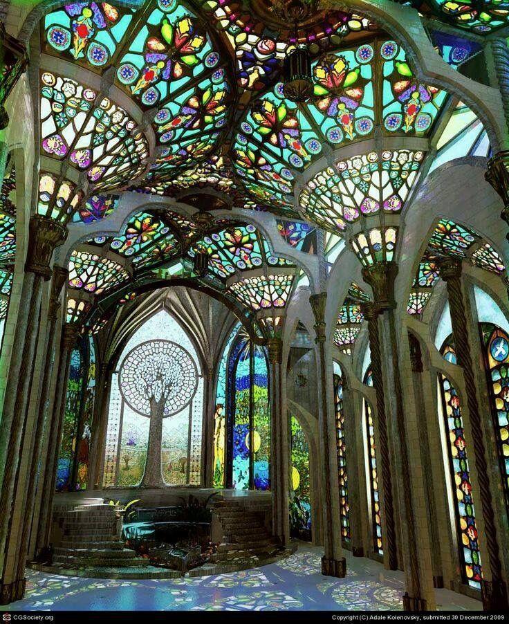 Buntglas-Bögen mit Baumfensterentwurf – #Baumfensterentwurf #BuntglasBögen #mi
