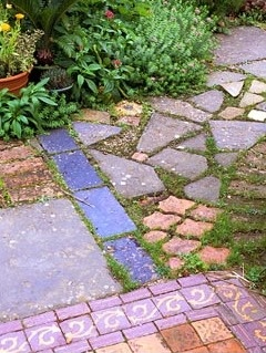 Varied Materials Used As Garden Paving