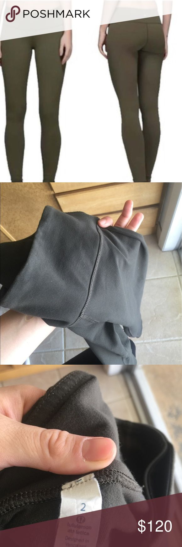 DARK OLIVE GREEN LULULEMON FULL LEGGINGS Dark OLIVE GREEN LULULEMON LEGGINGS FULL PANT medium rise and rare right now in all LULULEMON stores. Brand new worn once, bought them off of Poshmark and to small for me! lululemon athletica Other