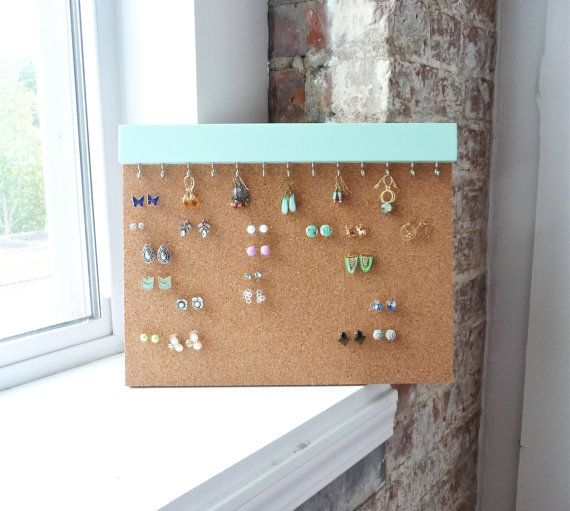 Simple, clean and highly functional earring storage solution. Made with extra thick cork to allow for earrings to be pushed in without removing the