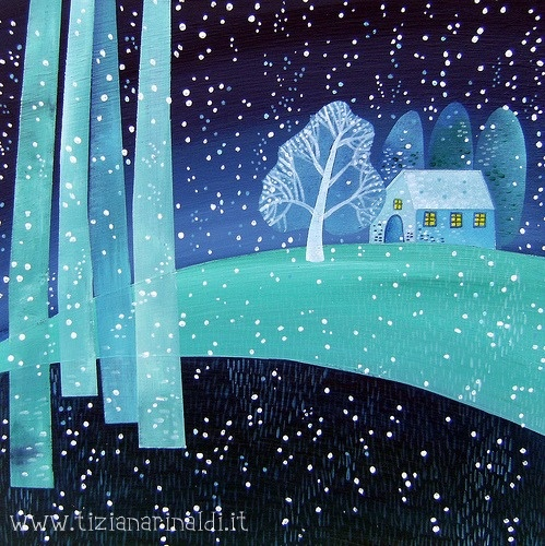 Sera di neve - by Tiziana RInaldi #winter #snow #painting #art
