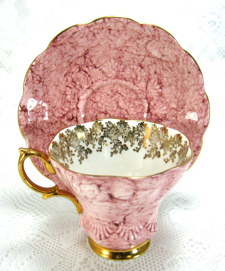 Royal Albert Pink Marbled Cup And Saucer by AntiquesAndTeacups