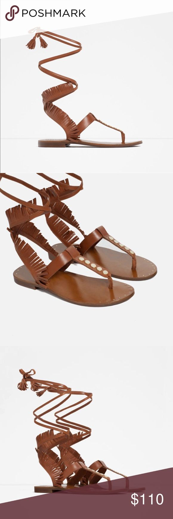 Zara Fringe Leather Gladiator Sandals Dust bag included Zara Shoes Lace Up Boots